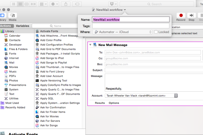 Automator will not save service in General in Yosemite OSX for keyboard shortcuts